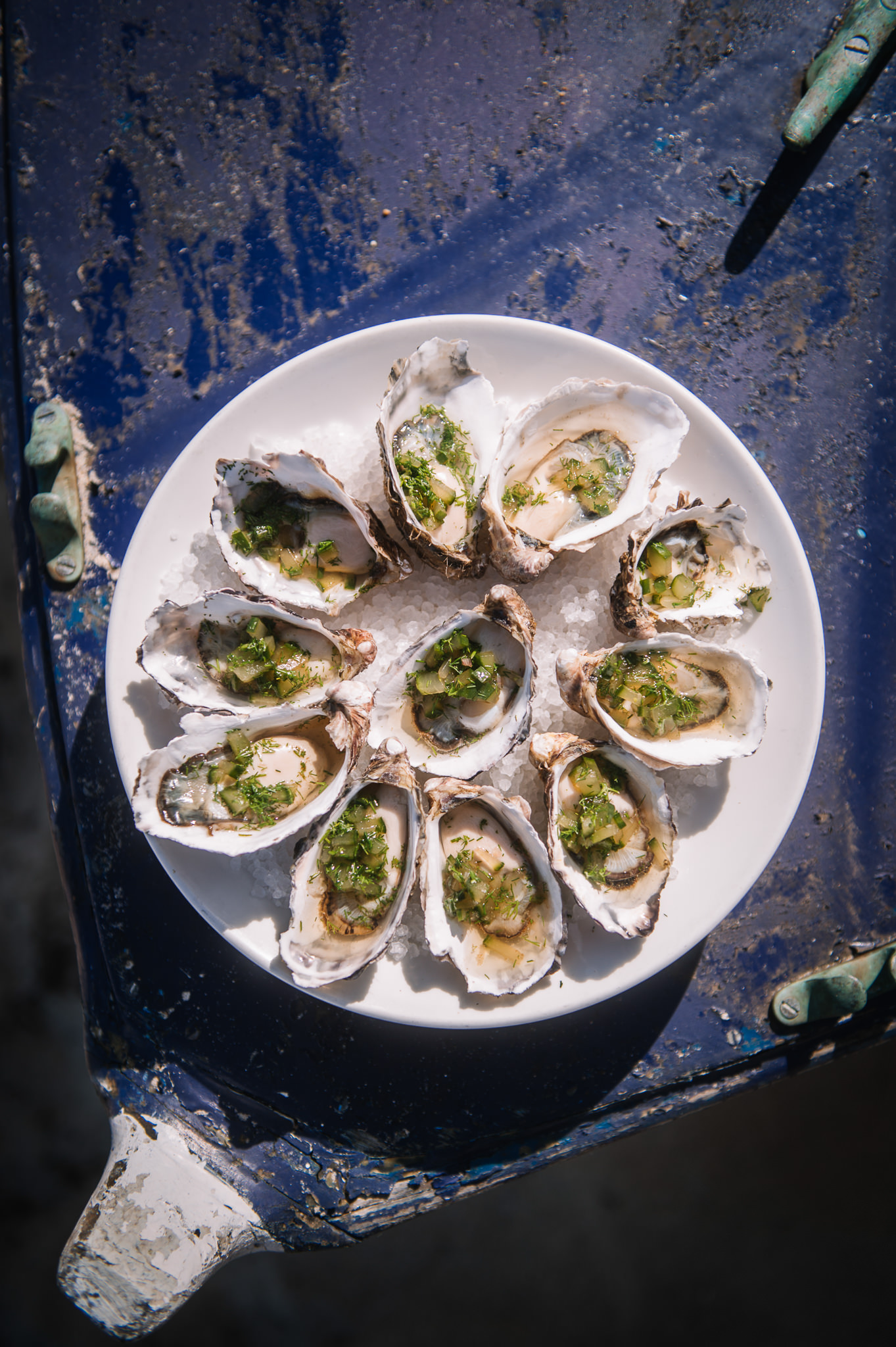 Tasmanian oysters prepared and served by Smolt kitchen