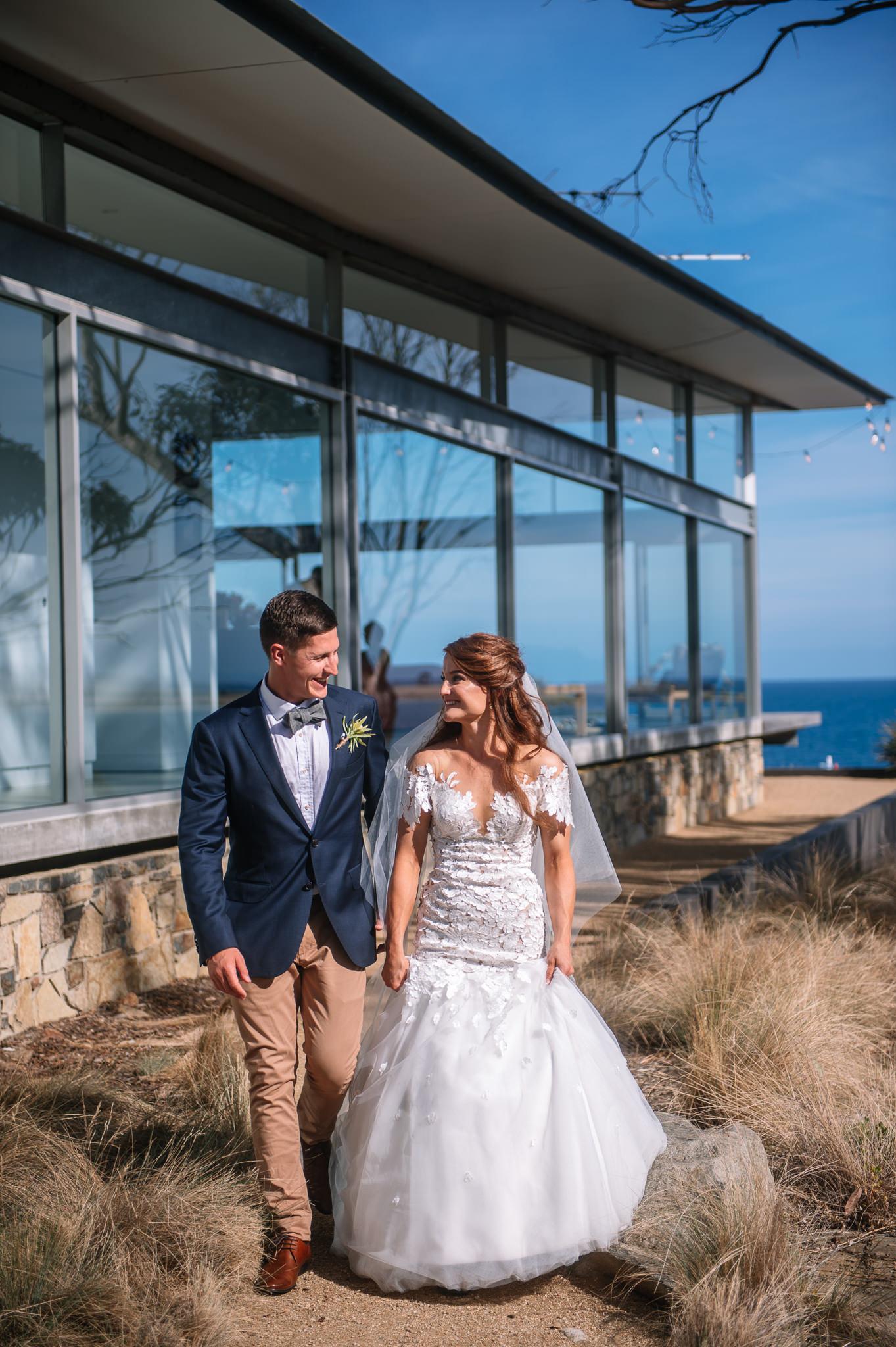 Bride and groom at Avalon Coastal retreat