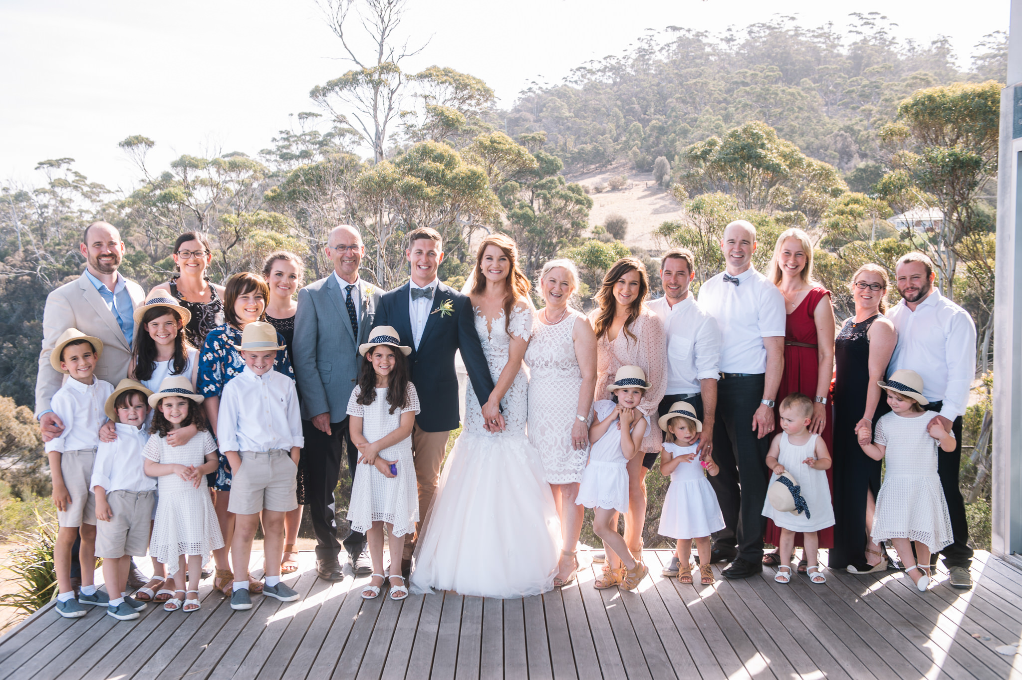 Extended family after the wedding at Avalon Coastal Retreat
