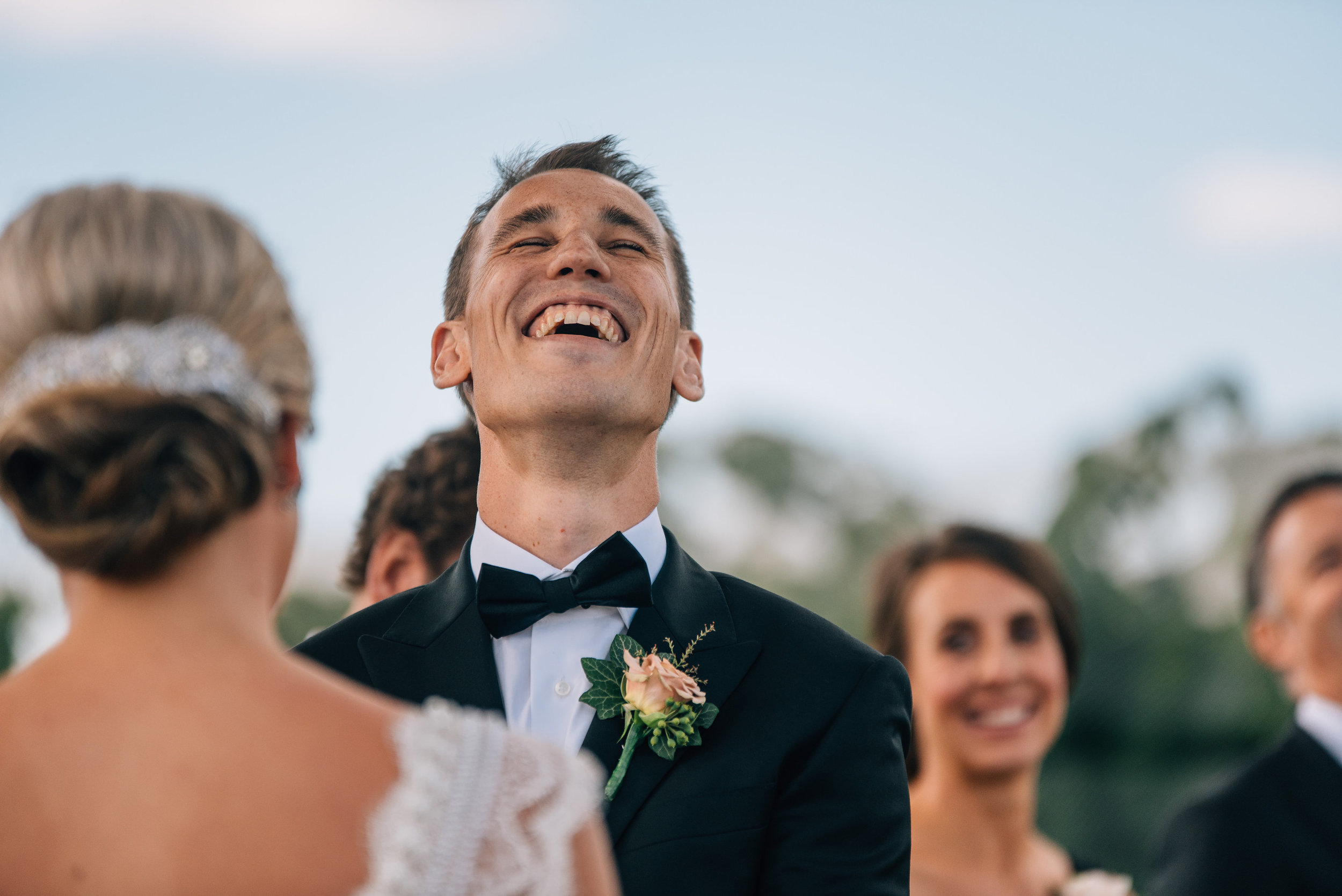 Groom looking very happy at Goaty Hill