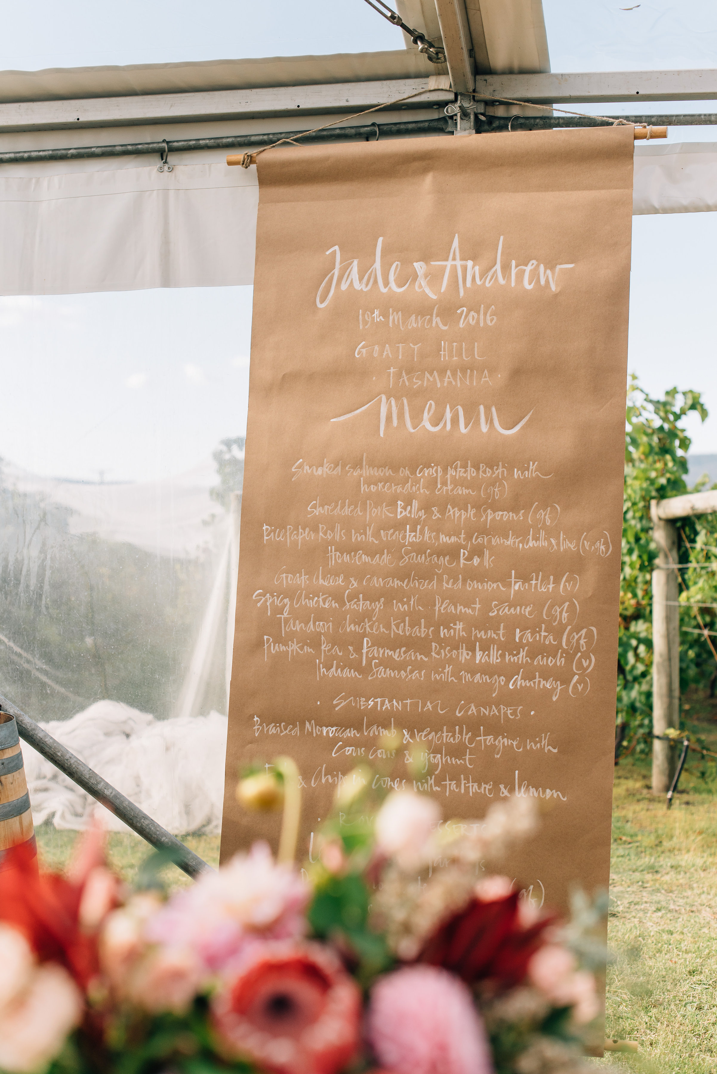 Hand written menu for the wedding reception at Goaty Hill