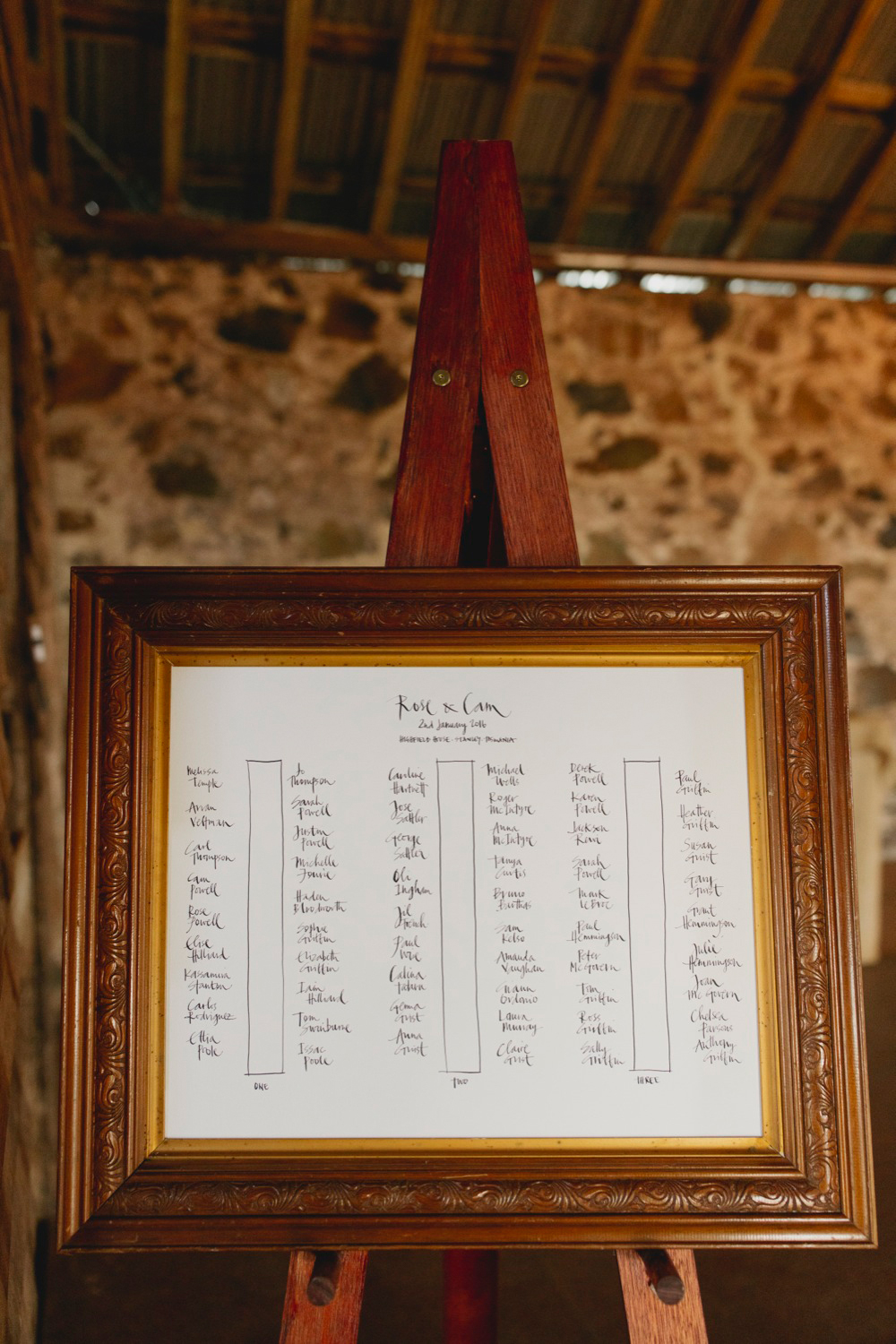 Hand written seating plan for the barn