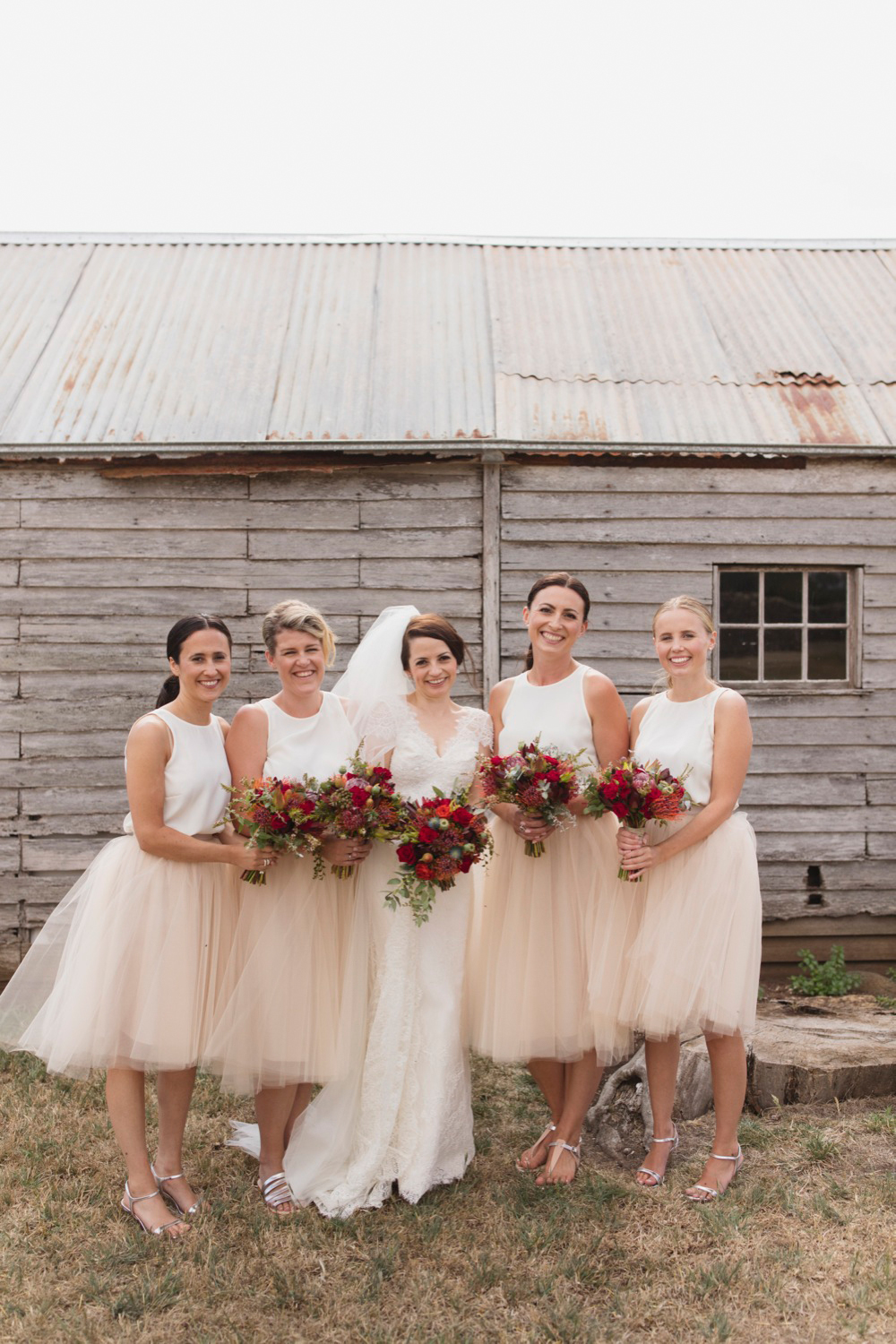 Bride and bridesmaids at Highfield House, Stanley. Bouquets by Bek Burrows