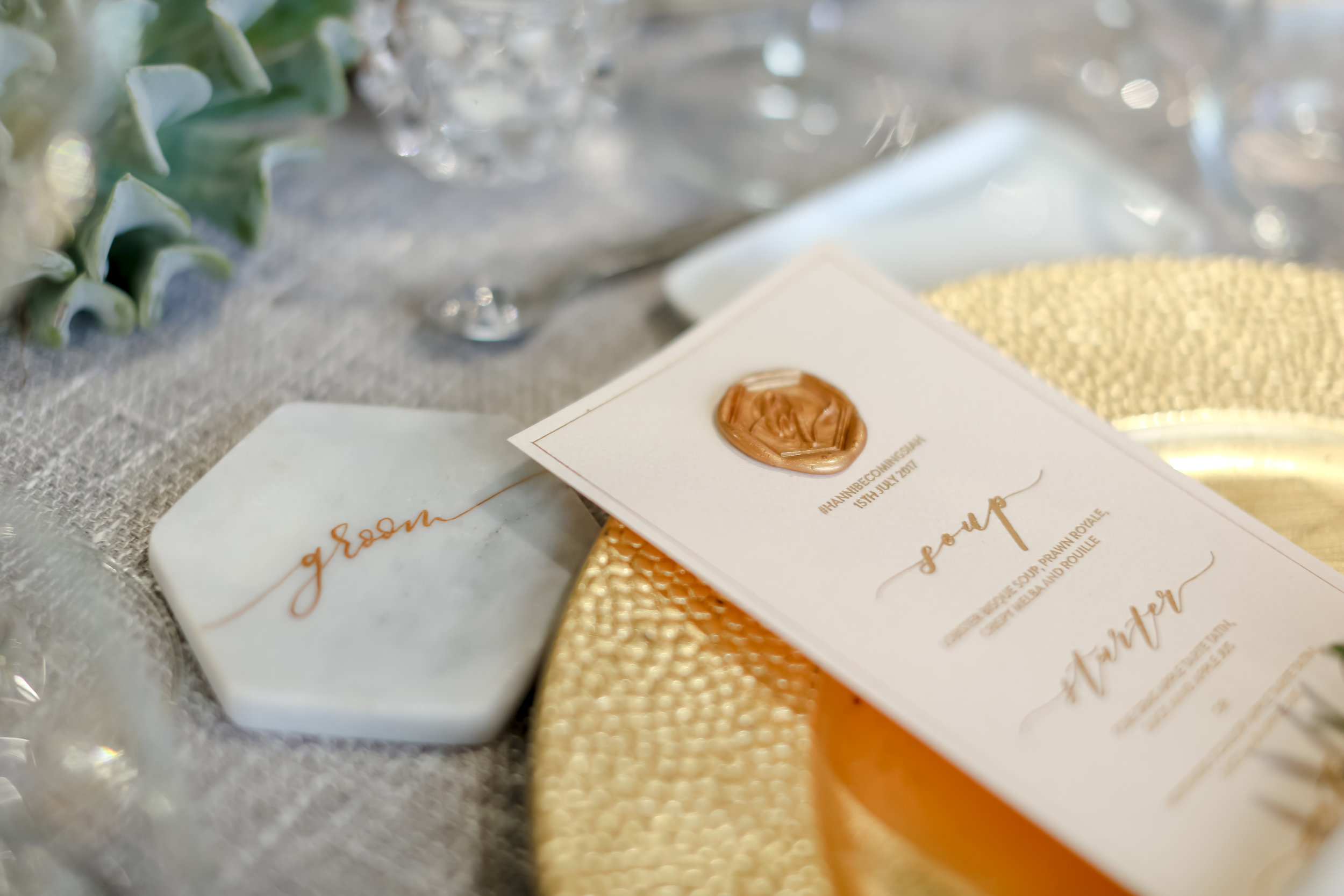 Personal Touches: From picking out quotes to choosing the center pieces that has a symbolic meaning to it.The little details that makes it even more memorable