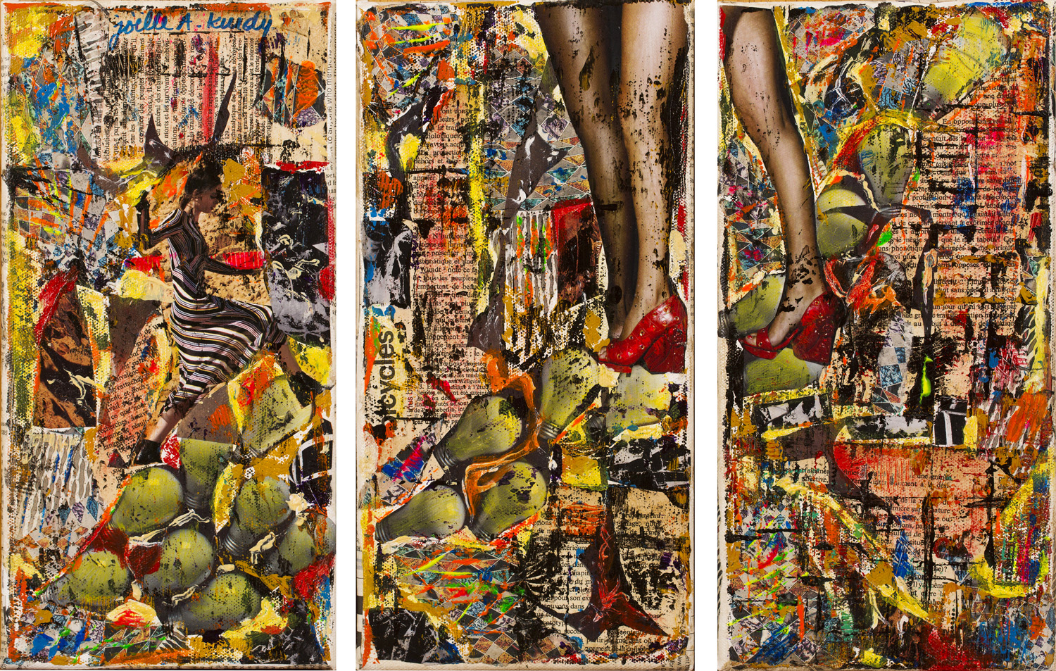 """I am highlighting the apex, the climax of womanhood. I am depicting the notion of creativity, innovation and genius. Lightbulbs translate my idea that women are """"light"""" itself, and they bloom in vivid colours throughout the painting."""