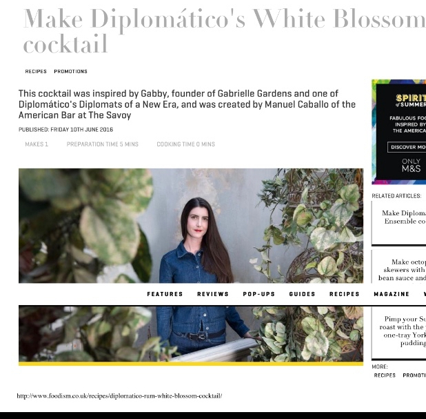 Foodism article featuring Gabrielle Shay, founder of Gabrielle Gardens. Talking about young people in horticultural industries and on being a business ambassador as part of the Diplomatico rum brand campaign.
