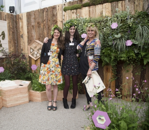Joanna Lumley with Kerrie Mckinnon and Gabrielle Shay at the Honeycomb Meadow Bee Garden, RHS Chelsea flower show 2018. Photograph courtesy of Fran Hennessy   Article link