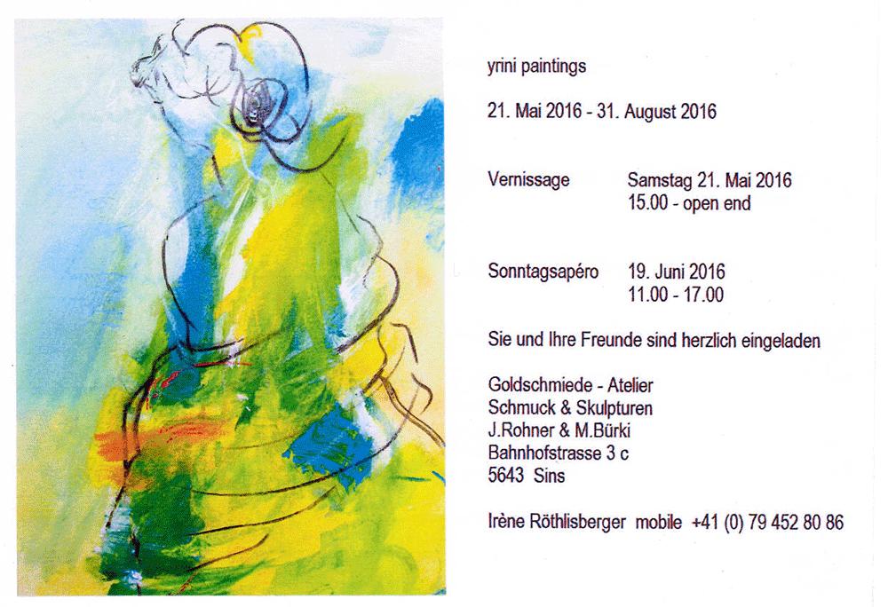 Irene Röthlisberger, Künstlerin und dipl. Maltherapeutin aus Bern, zeigt ihre bilder im Goldschmiede-Atelier in Sins