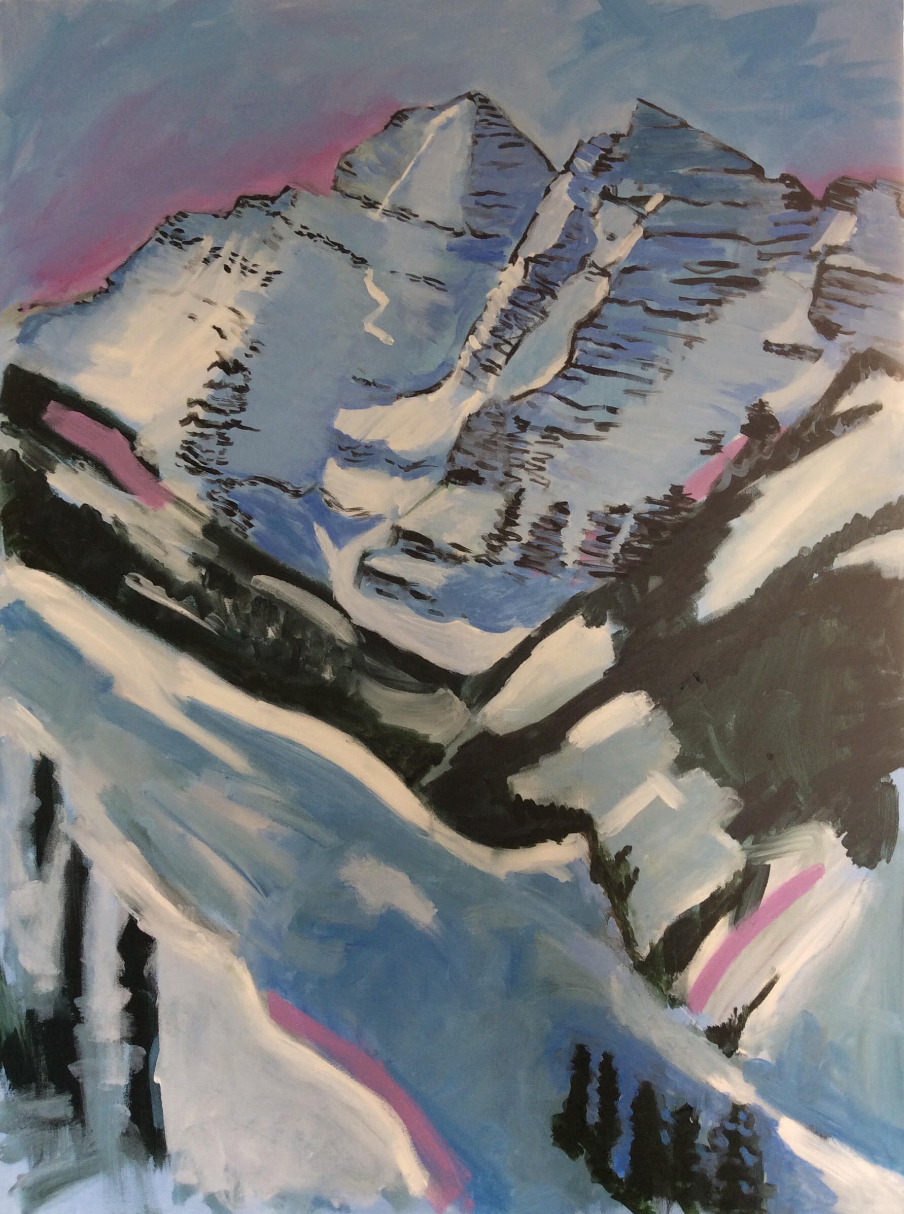 Phyllis Anderson, Acrylic on Canvas,  Rockies , 40 x 30 Inches