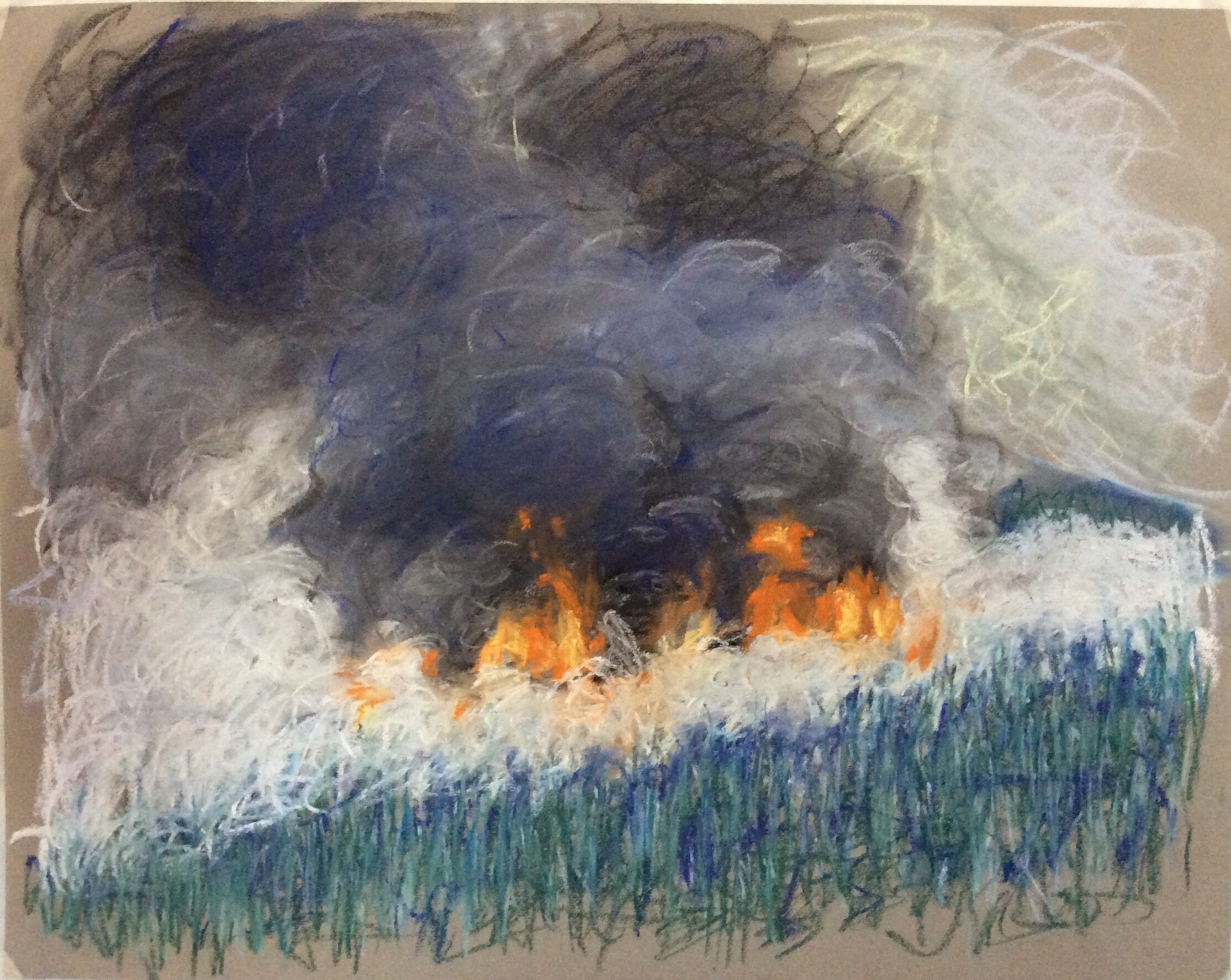 Phyllis Anderson,  Sugar Loaf Fire,  Pastel on Paper, 19 x 24 inches