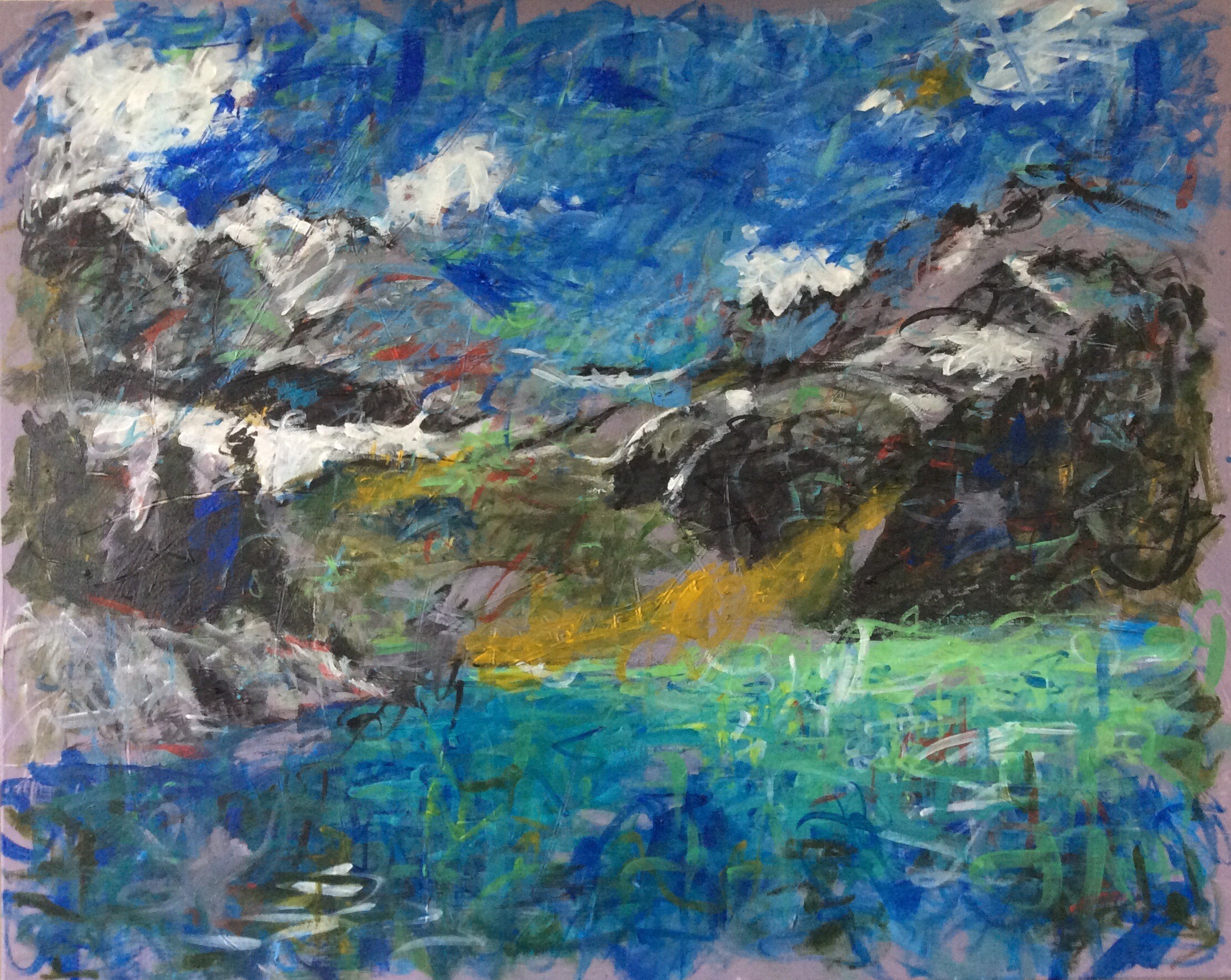 Phyllis Anderson,  Mountain Lake,  Acrylic on Canvas, 24 x 30 inches