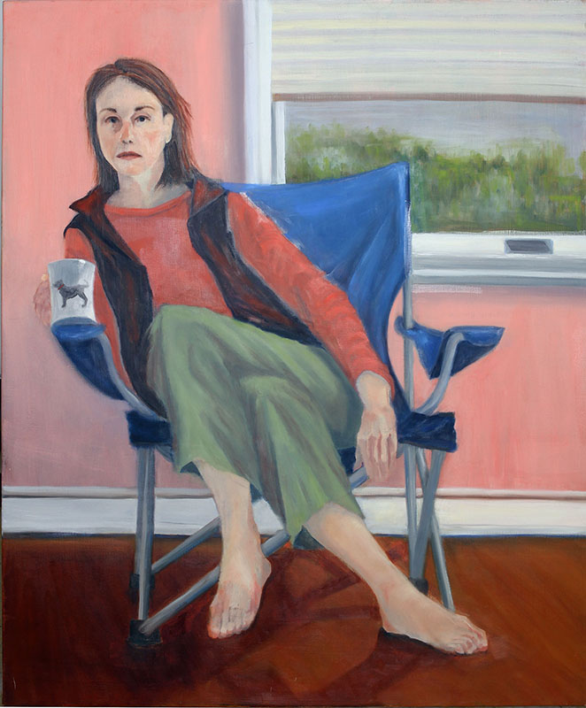Self Portrait with Coffee,  Oil on Canvas, 40 x 36 in.