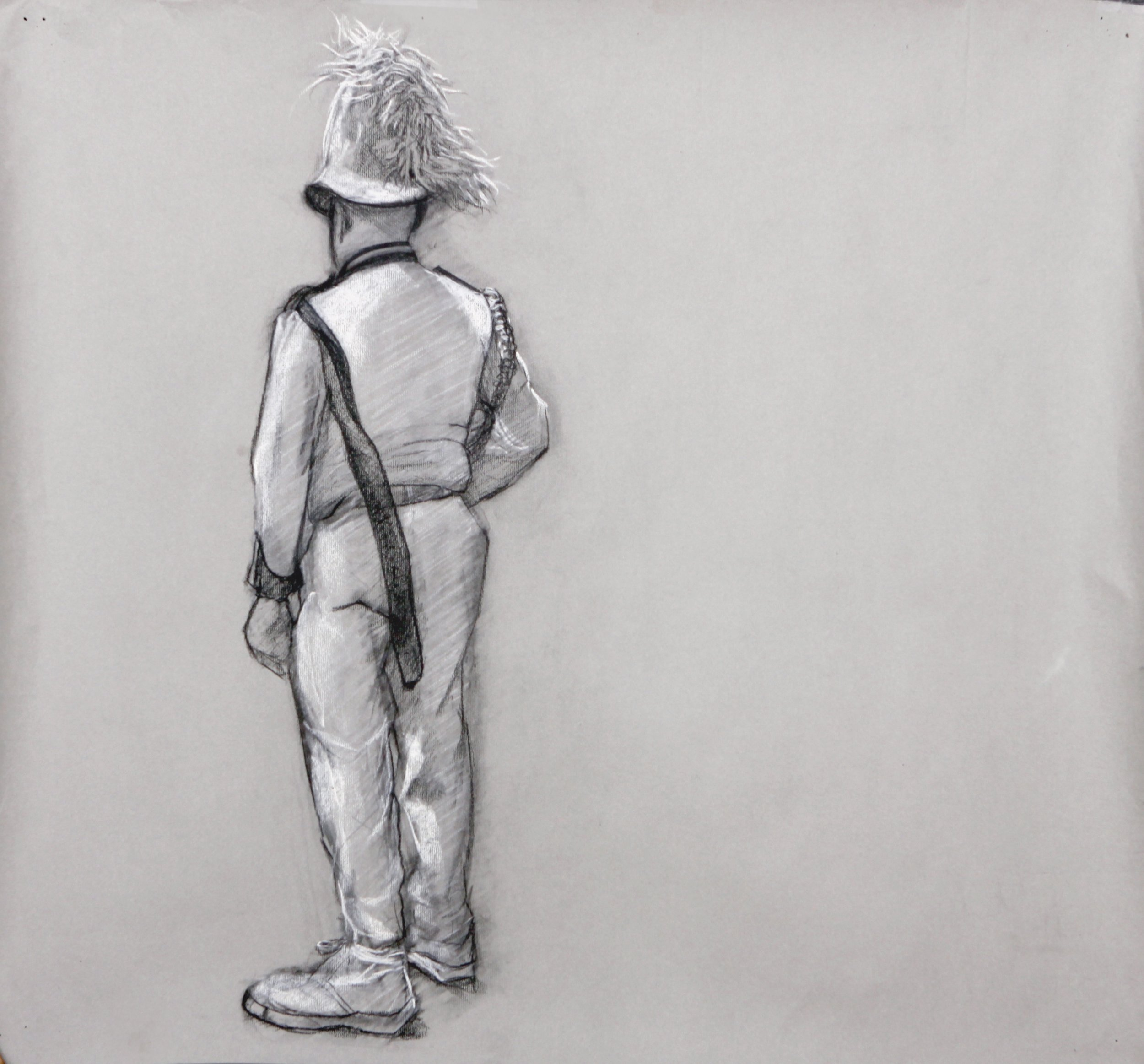 Mummer,  Conte on Paper, 24 x 18 in.
