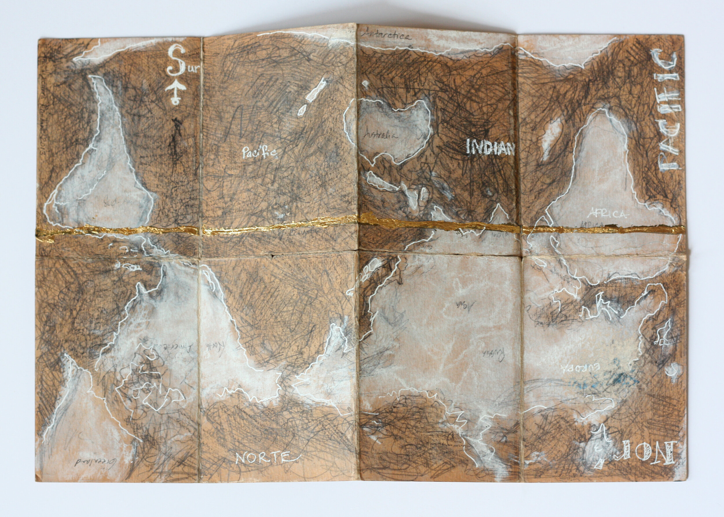 World Map (coffee), Mixed-Media Collage, 2.25 x 3 inches, 2016