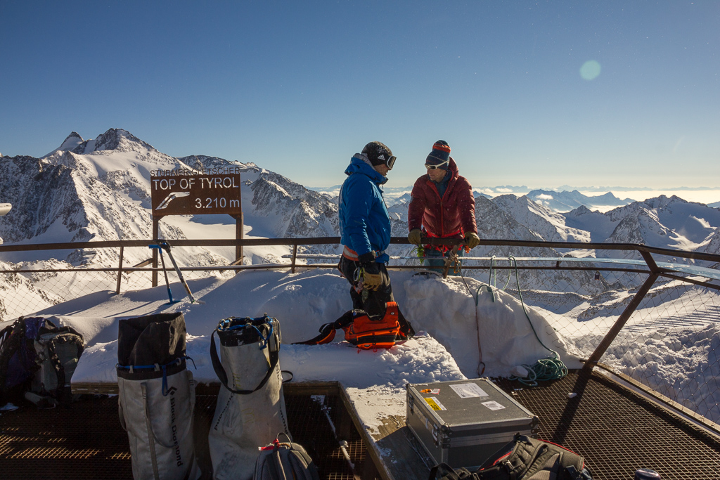 View of the Alps from Top of Tyrol, a fairly new platform on Glacier Stubai. Height: 3210meters, 10.532 feet.