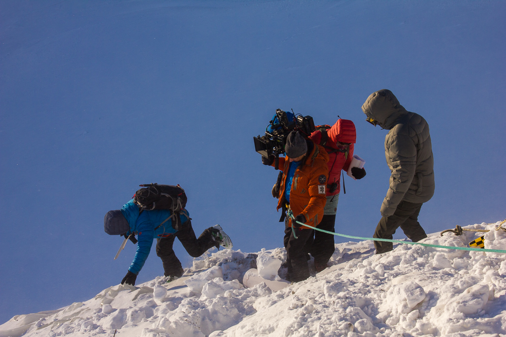 Cameraman Günther, camera assistant Leo and myself. We were constantly secured by two mountain guides.