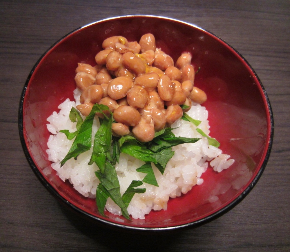 The above big bean brand sampled with rice, shoyu, hot mustard and chopped shiso leaf---delicious!