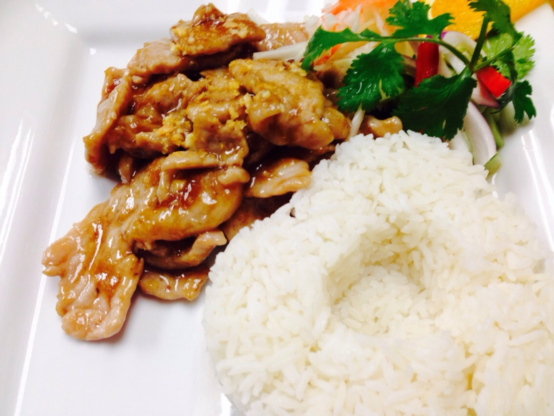 L. Garlic Pork with Steamed Rice