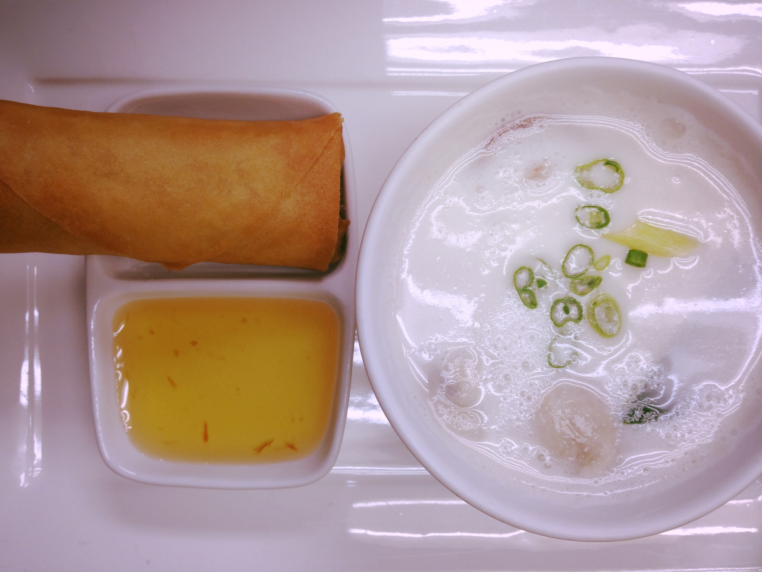 Chicken Coconut Soup & Spring Roll
