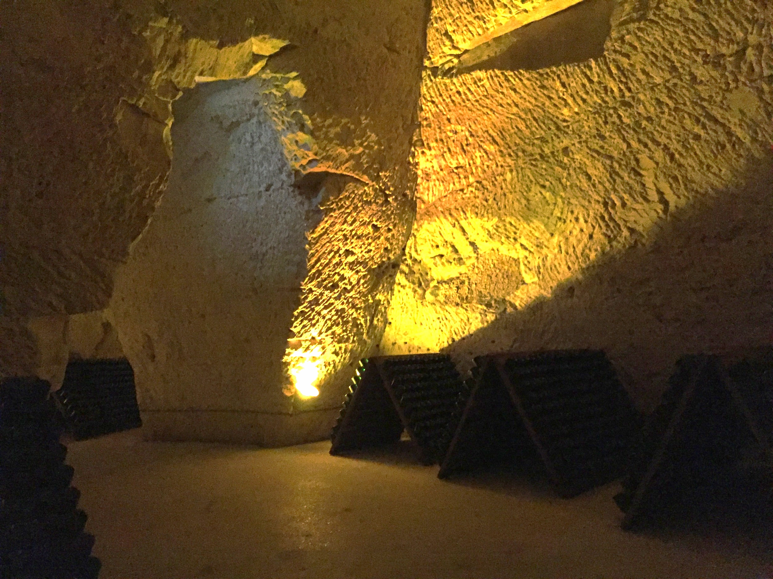 The crayeres, underground cellars at Taittinger that keep the wine at the perfect temperature