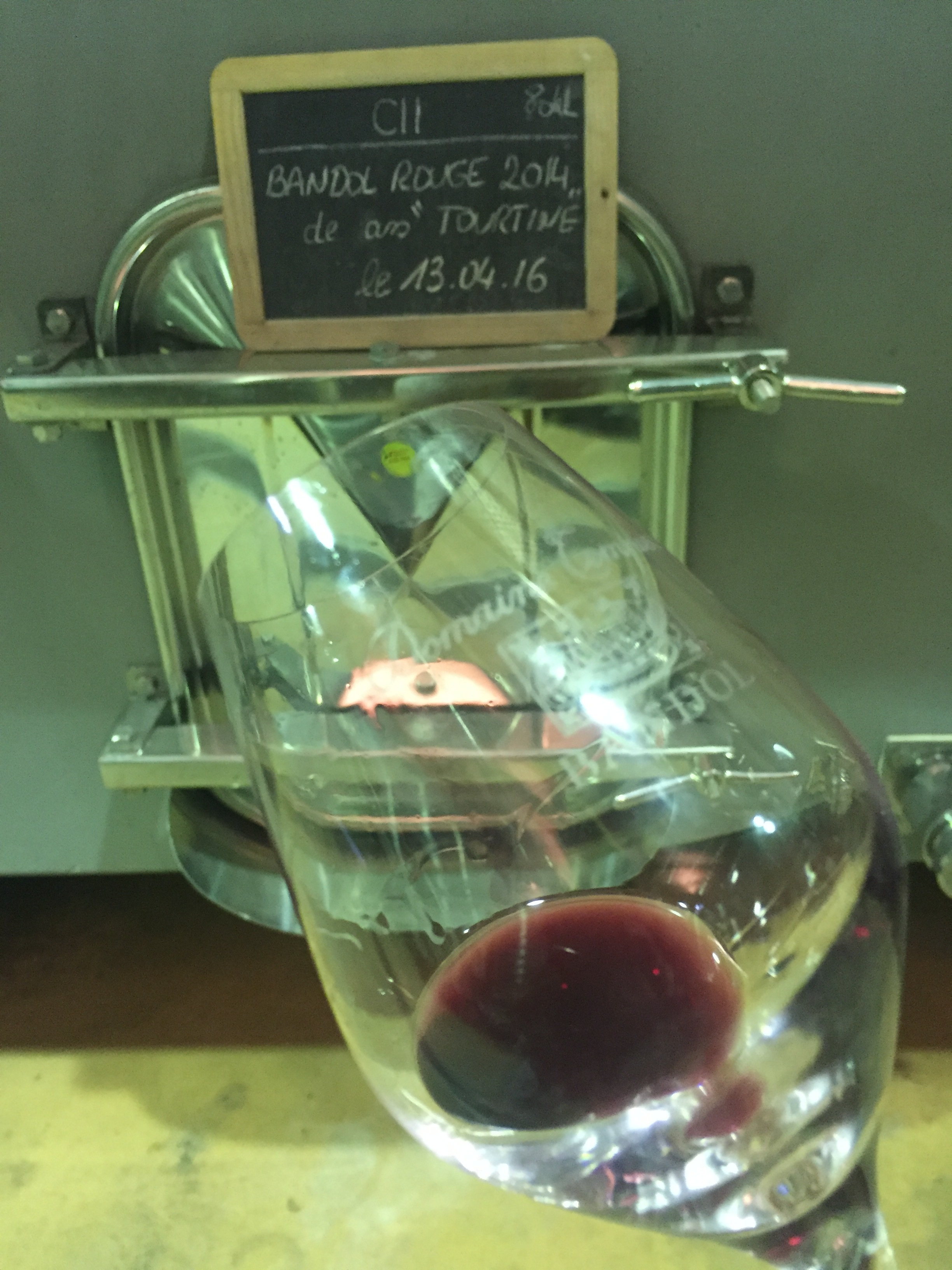 "Tank tasting of 2014 Bandol Rouge ""Tourtin"", one of their 3 single vineyard reds."