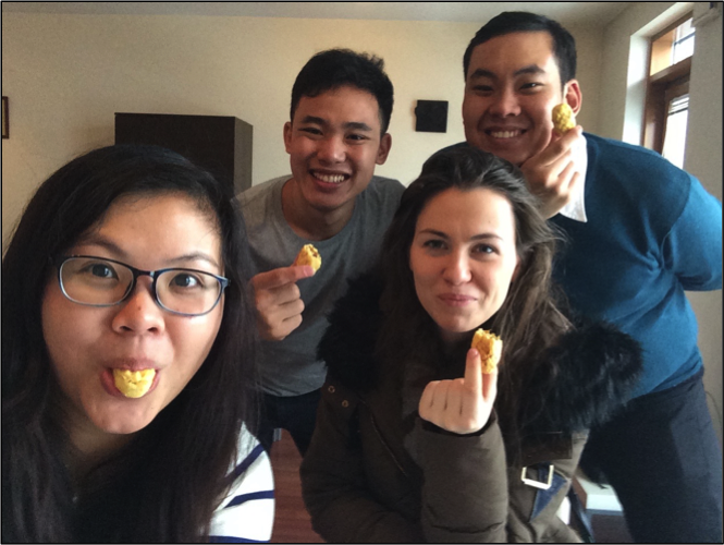 Trying some homemade pineapple tarts with our polish buddies on arrival in Warsaw.