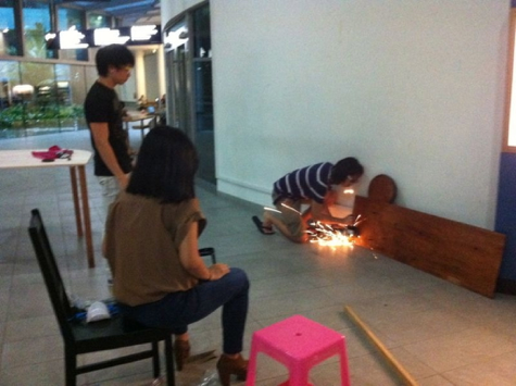Yay! Sparks! (at our combined props building session)