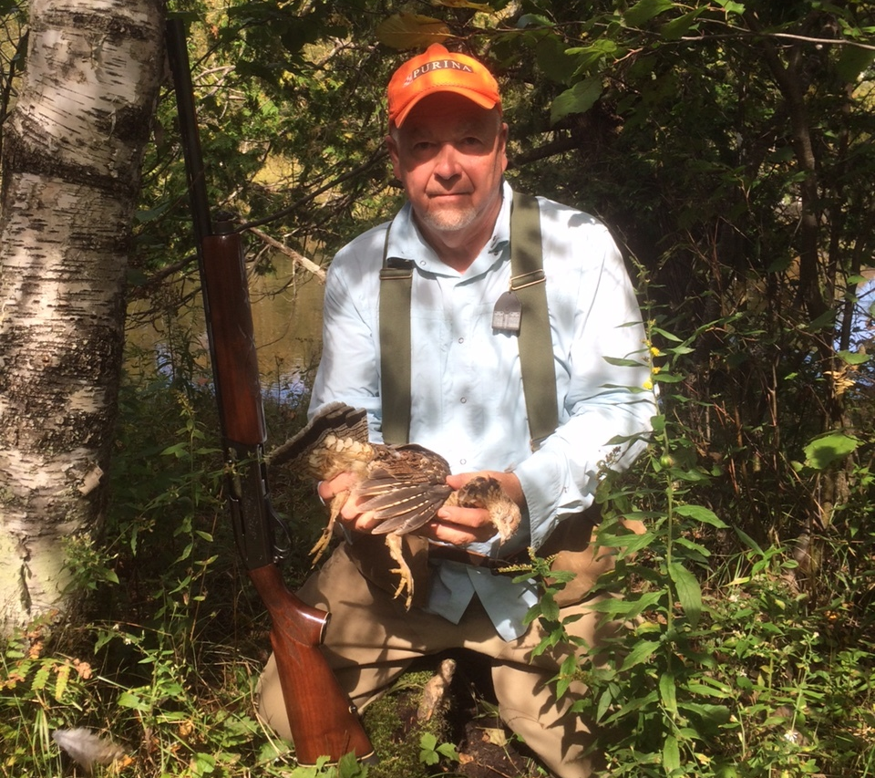Guide and Author, Mark Karaba, with Grouse harvested in Northern Michigan. Photo Curiosity of Mark Karaba.