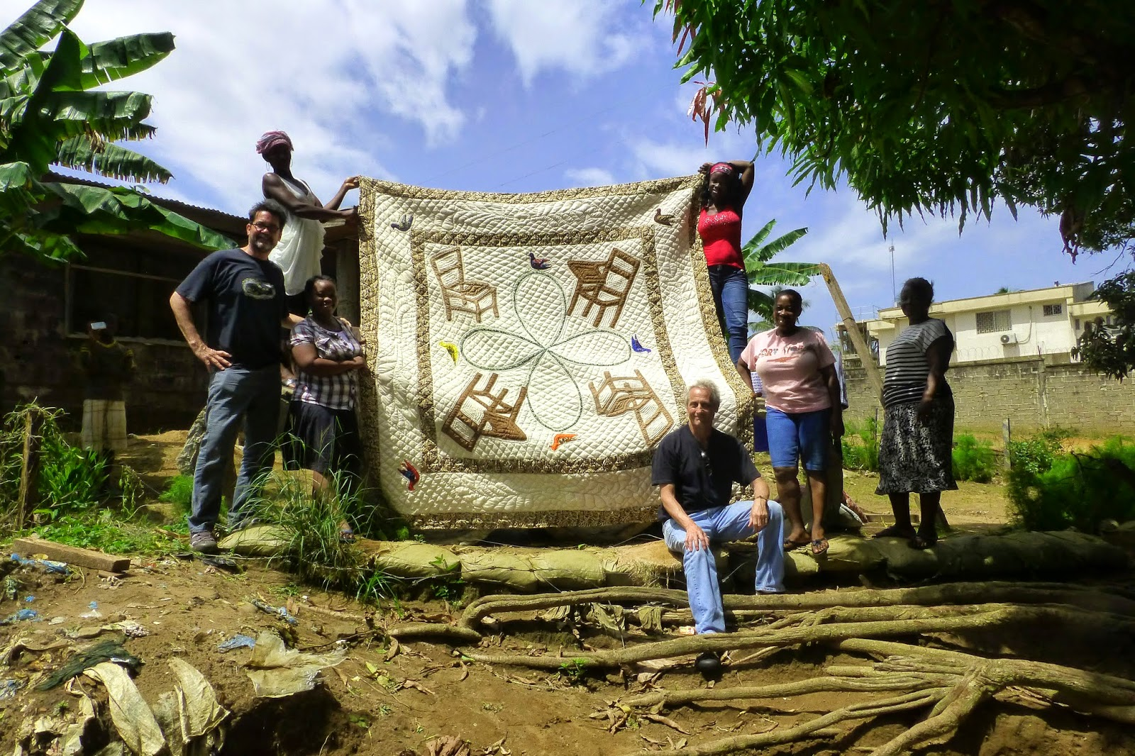 In Monrovia, in collaboration with the Quilters Guilds, Waste Not Inc., Alice Bracewell (Sinkor), Quageh, Maude Davis (Caldwell), and team of young women created a visual document of Story in an edition of Quilts.