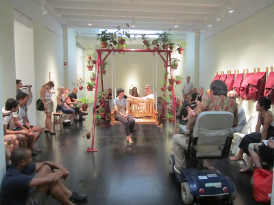 AN EVENING OF SWING POETRY Thursday July 21 A group of DC poets take over the installation of Swing for a lively and informal reading.    Jessica Cebra & Casey Smith      Katy Bohinc & Adam Marston Kady Ashcraft & Jim Beane      Emilia Olsen & Christopher Cunningham  Organized by Casey Smith PHD, visual-vocal artist Faculty in Arts and Humanities Corcoran College of Art + Design, Washington, DC.