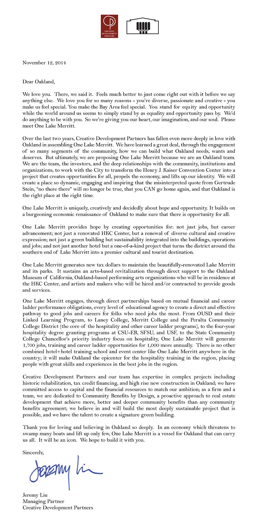 Open Letter to Oakland — One Lake Merritt