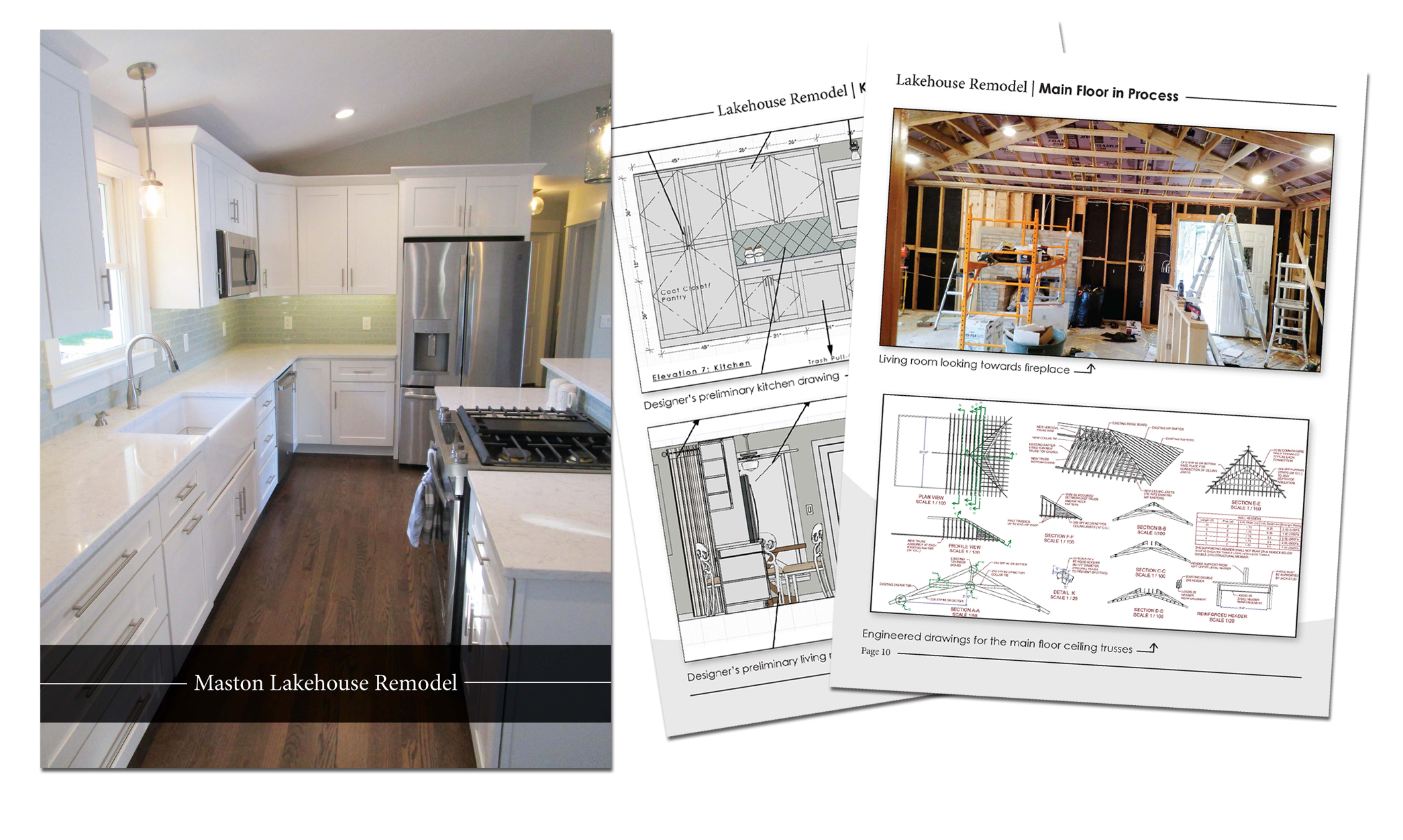 Remodel Guide - View plans, drawings, designs and detailed before and after photos of the lakehouse.