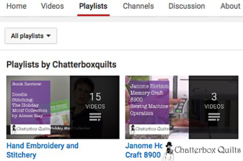 Now you're on the Playlists area of my Youtube channel