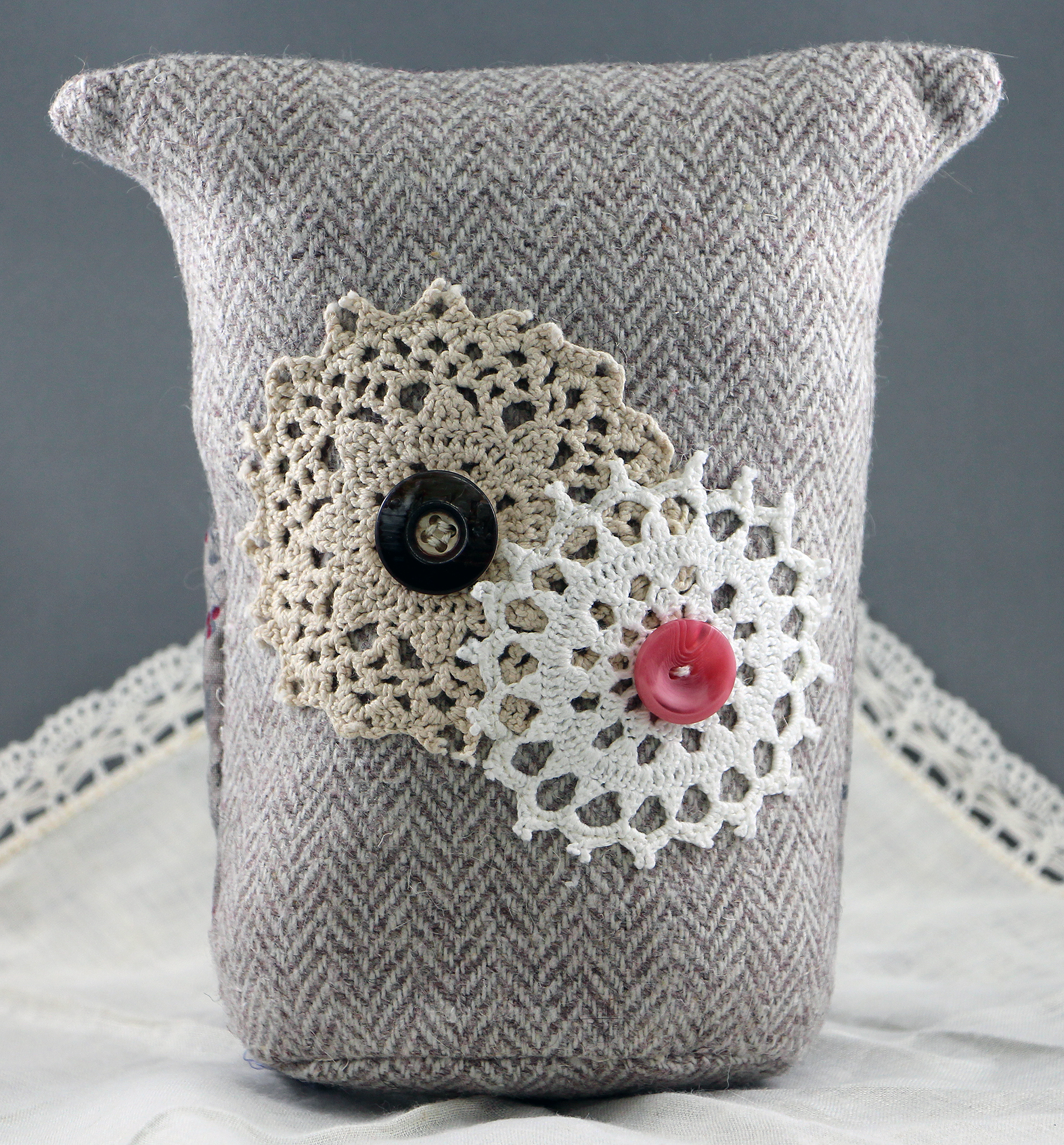 Use upcycled vintage linens to create detail on Myrtle's back.