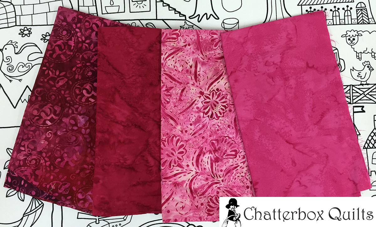 Lovely shades of red and pink batiks for the heart appliqués