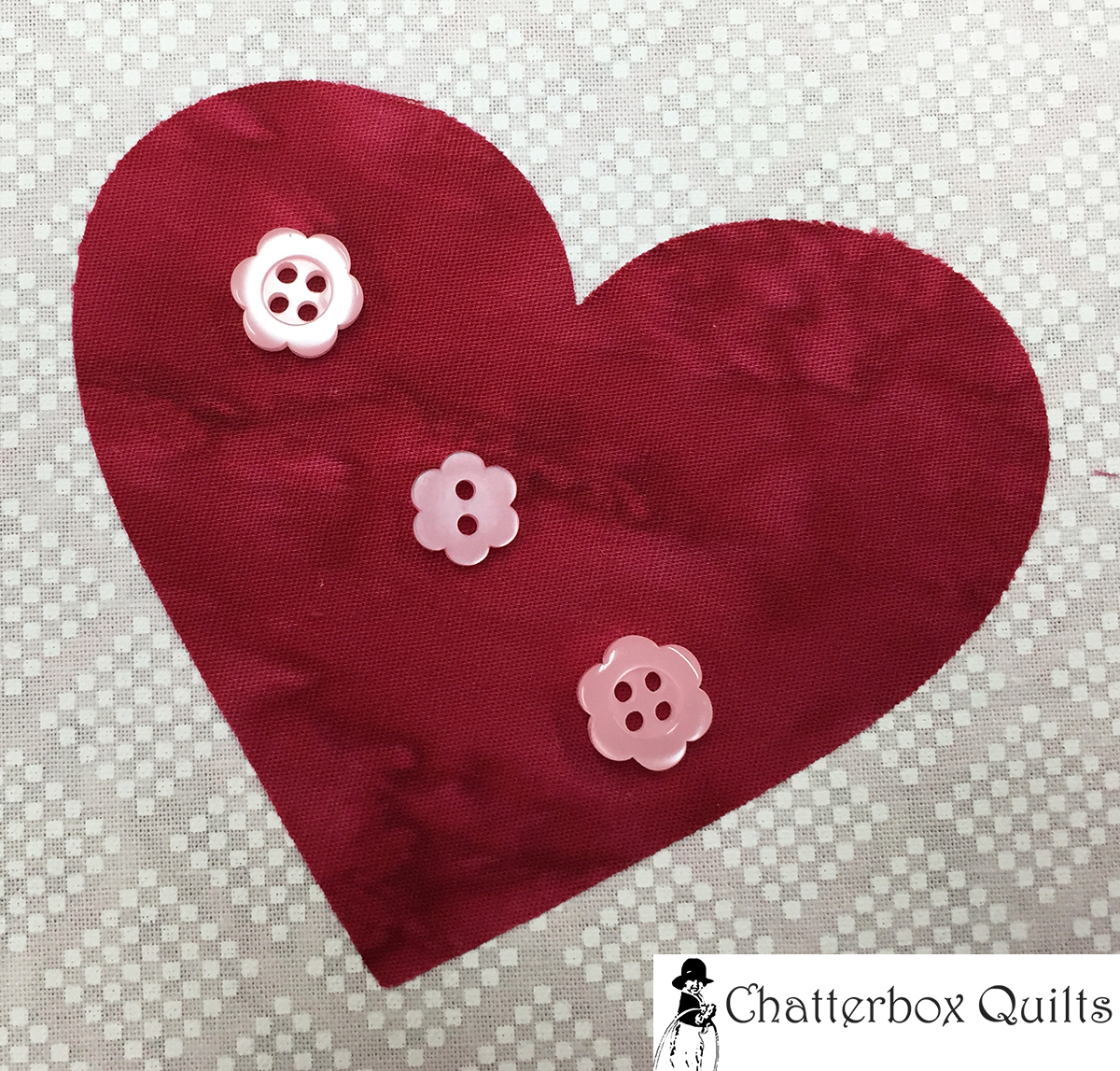 Heart #2 looks great with floral buttons in pink