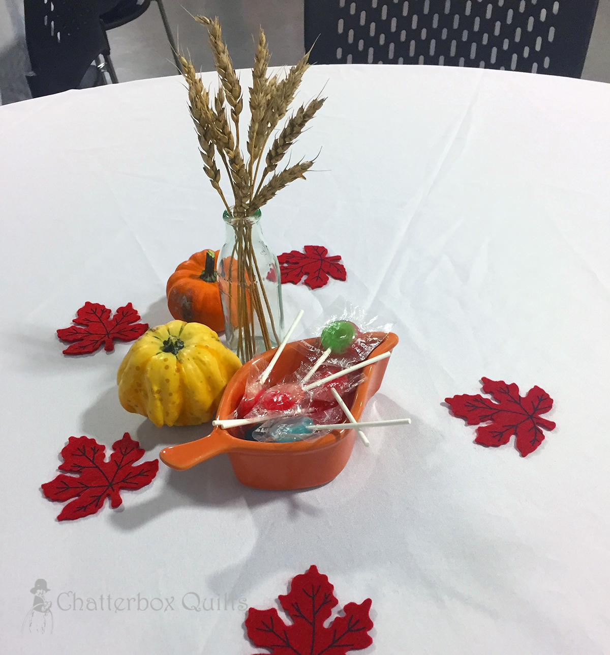 Table decorations at the Creative Expressions quilt show