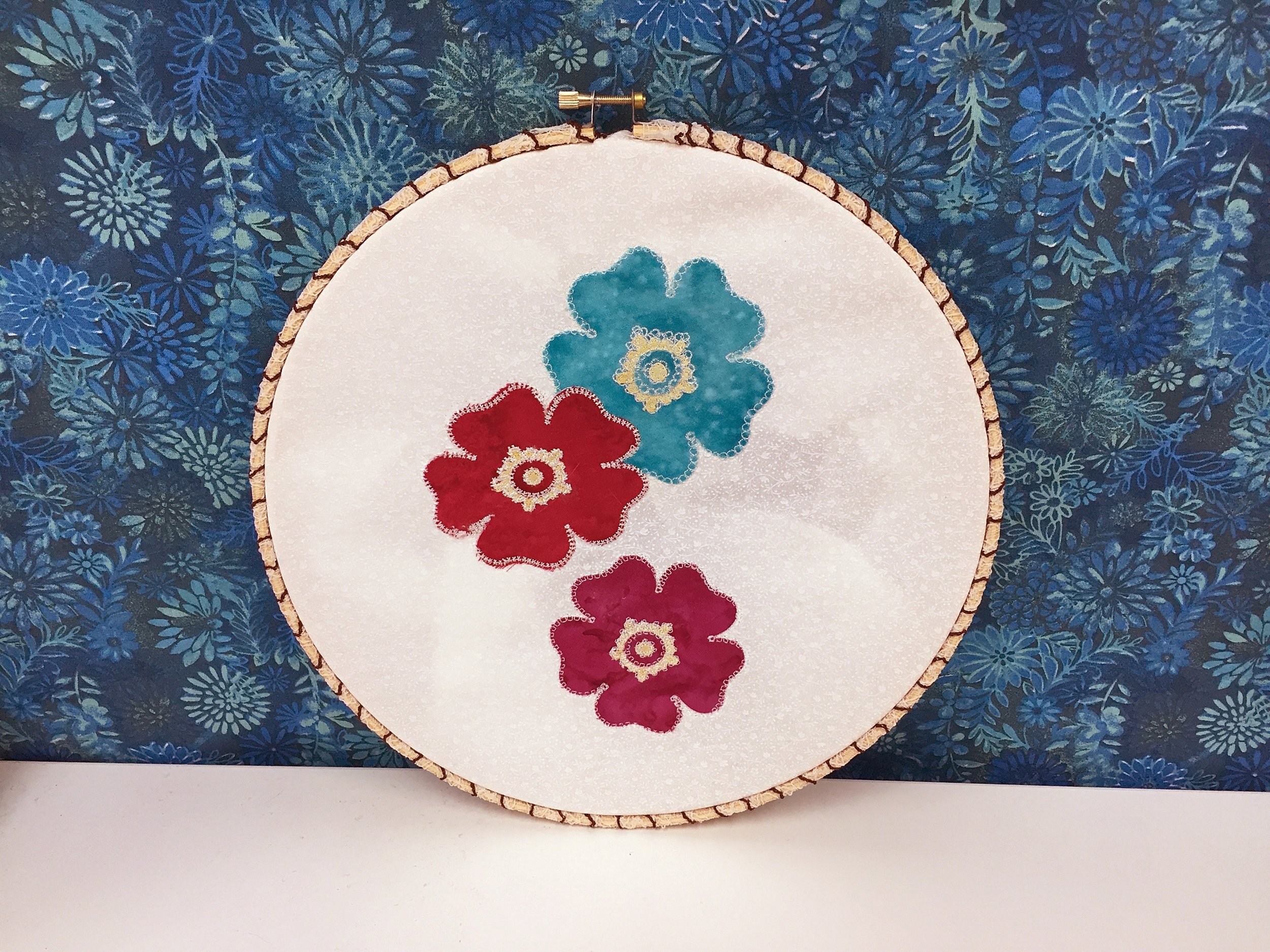 I kept the project really simple by popping it into an embroidery hoop.
