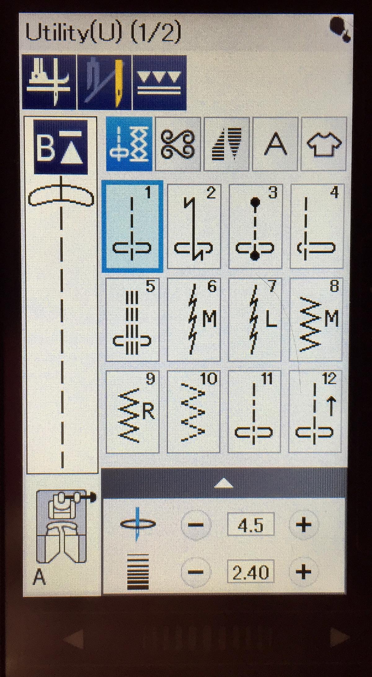 Janome MC9450 tapering menu.jpg