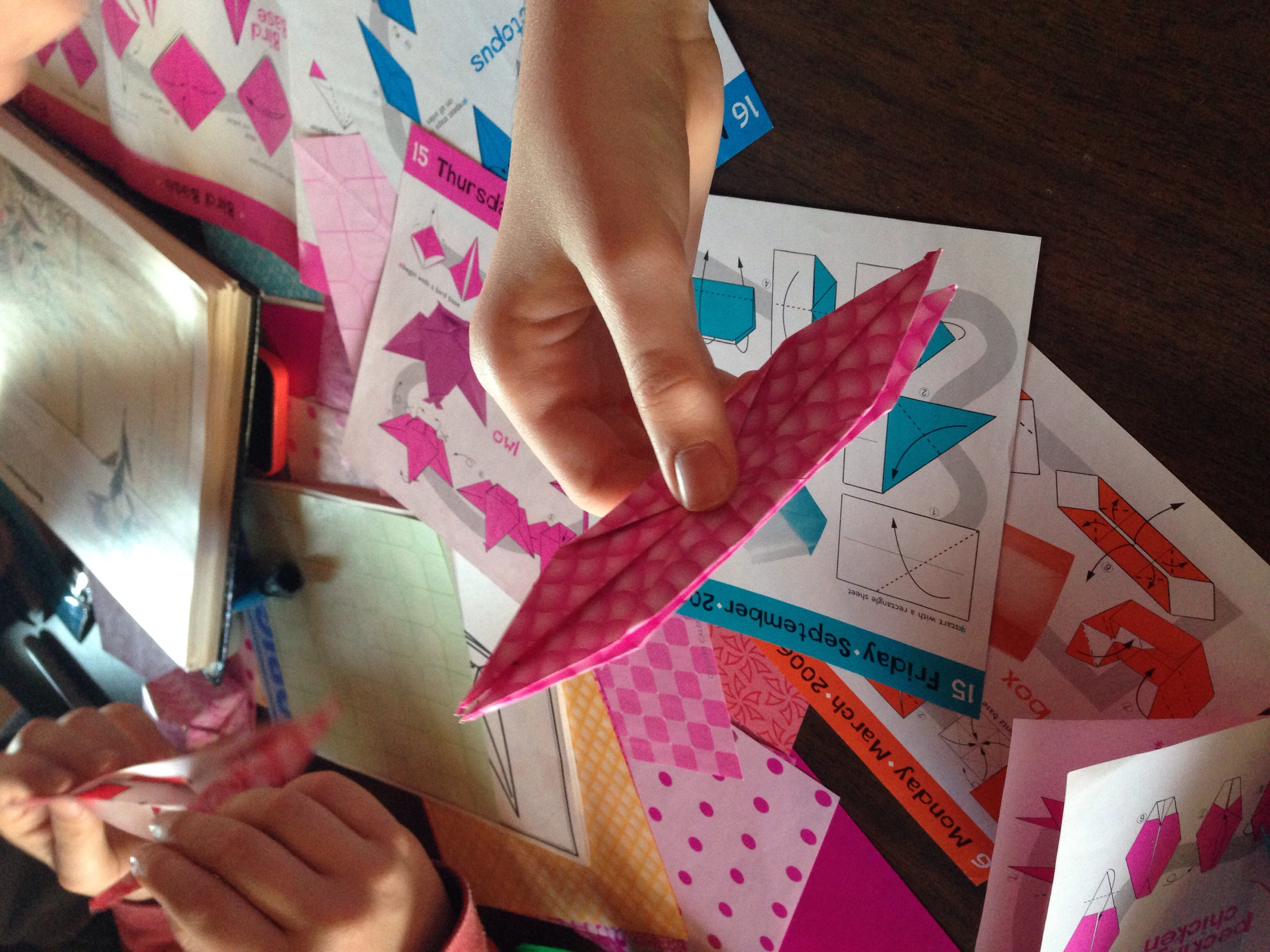 The beginnings of an origami crane