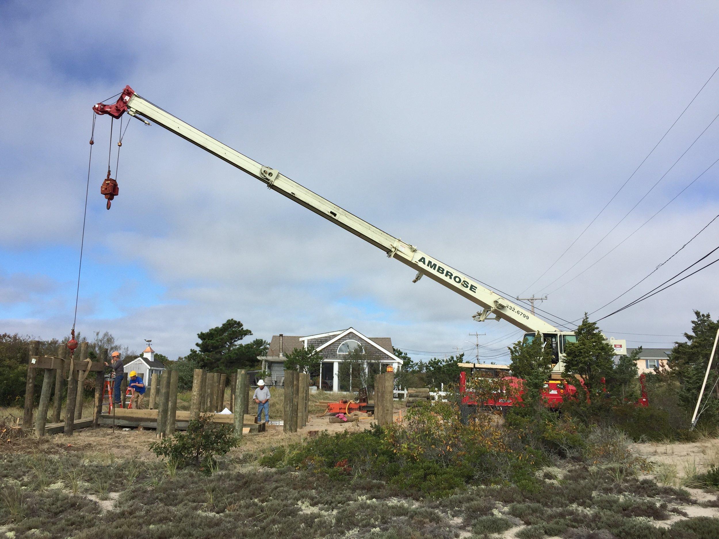 Ambrose Homes crane driving piles