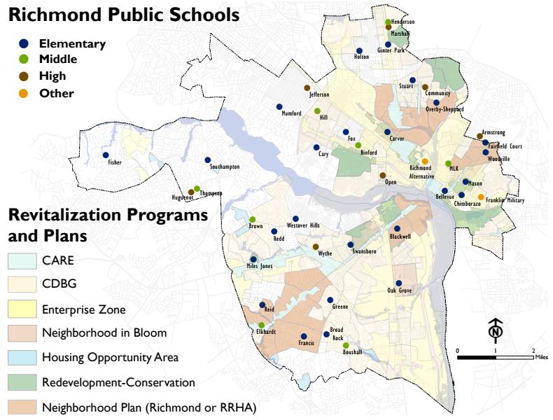 Analysis of school location and neighborhood revitlaization