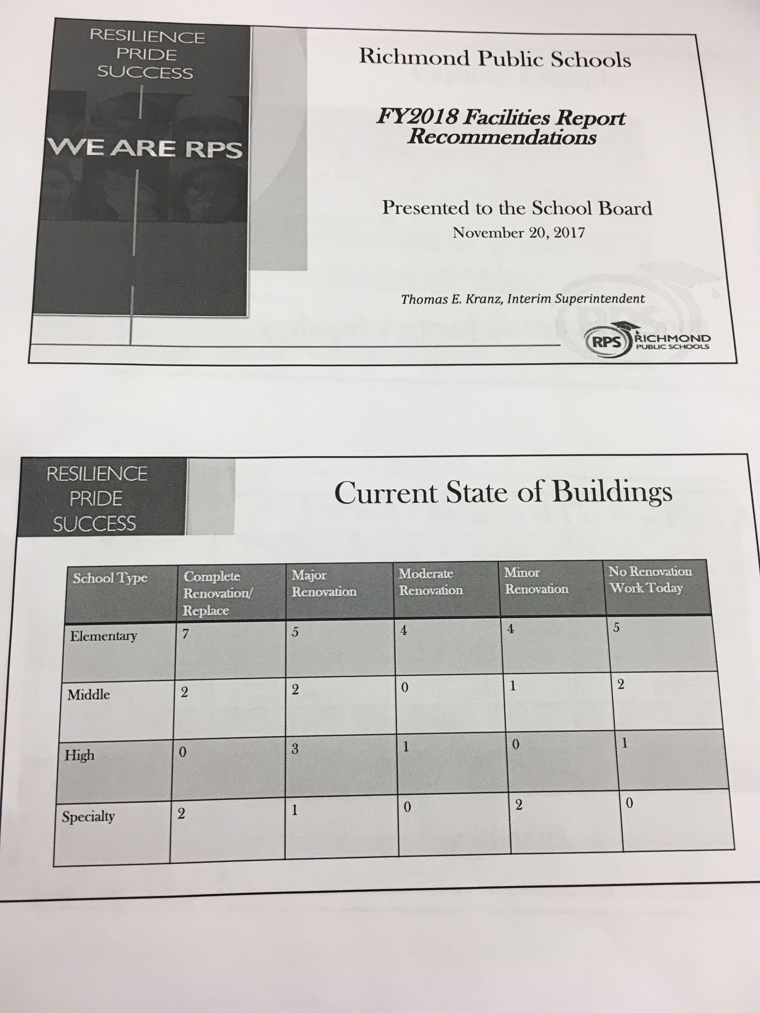 Facilities presentation hand out (November 20, 2017)