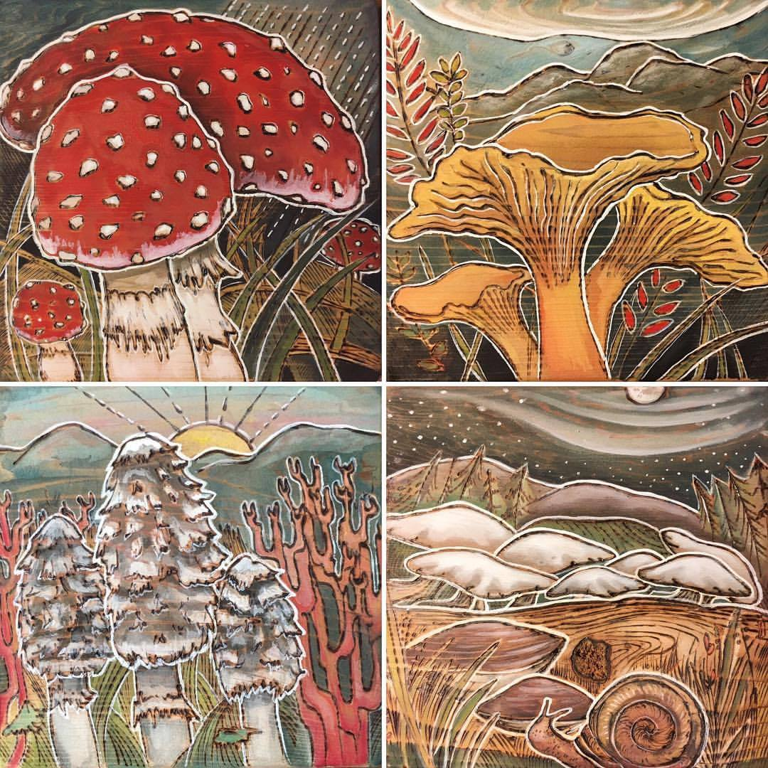 5x5 inch ,wood burn and gouache on Cedar:  Amanita Family, Chanterelle Family, Shaggy Manes and Corals, Midnight Gathering ,2017