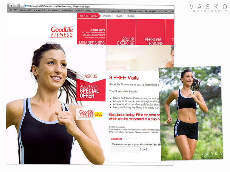 Vasko Photography GoodLife Fitness webpage