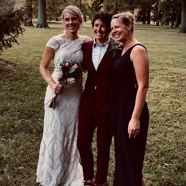 """This past weekend I had the great privilege of marrying two amazing, inspiring, and dynamic women. I had never officiated a wedding before, and so I was nervous, but also totally inspired and thrilled to be such an integral part of one of the most joyous occasions life offers us. @joash4891 and @calla.rose.m, thank you for who you are and for inviting me to participate in your journey! """"Love is an awakening...The way I see it is that you are here, engaging in this journey of mutually waking up to your lives together. You two committing your lives to cultivating wonder, to seeing yourselves and one another with open eyes from this day forward."""" 💕🌈🍾"""