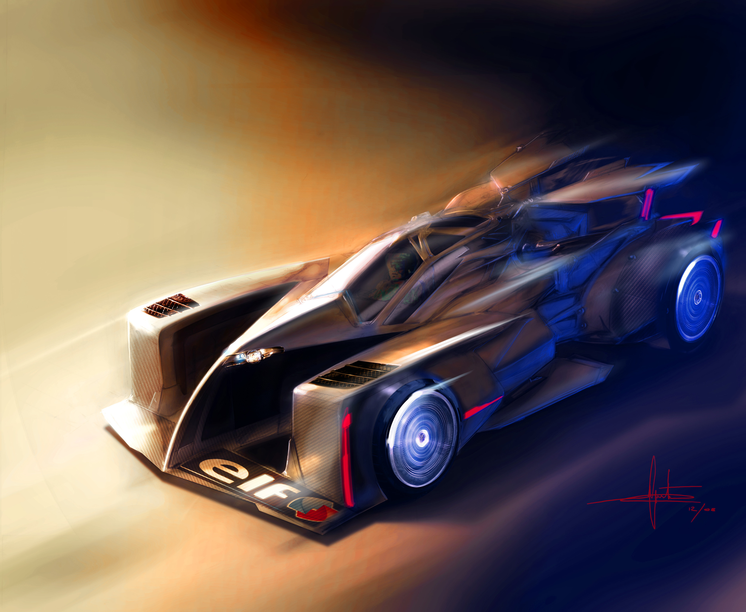 group C futuristic race car painting.