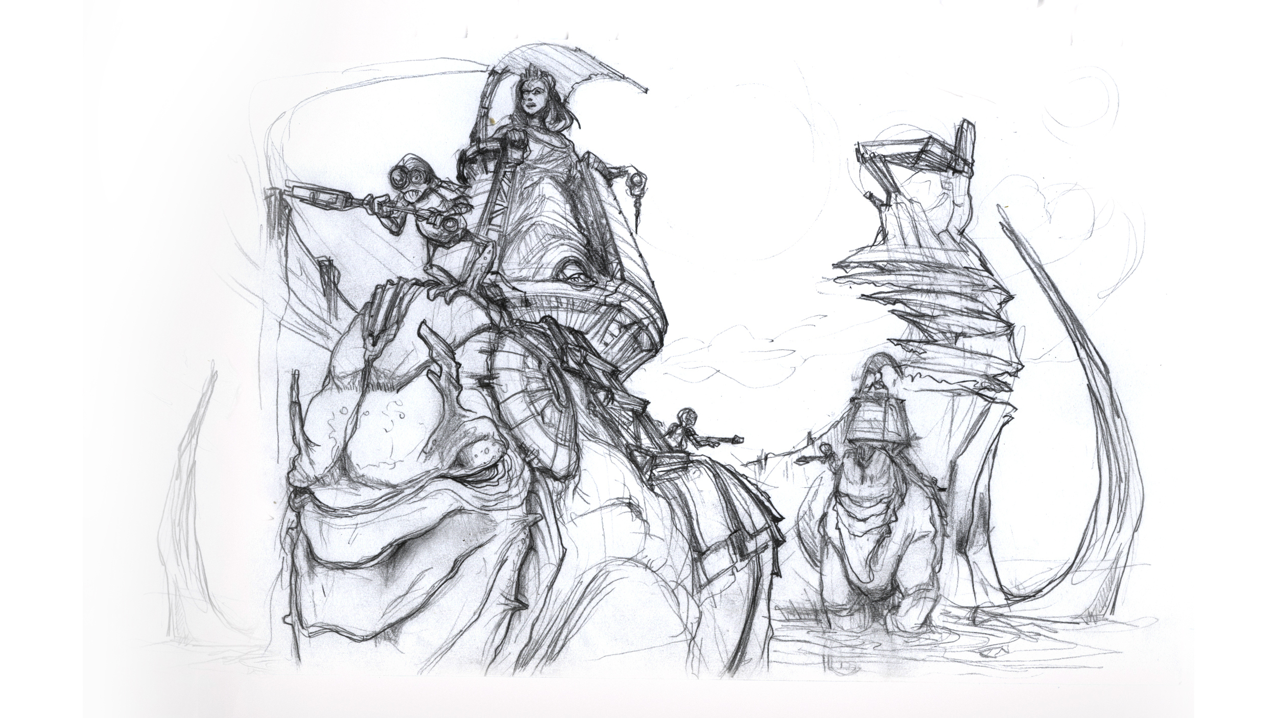 thumbnail sketch for concept painting depicting travelers across a desert landscape.