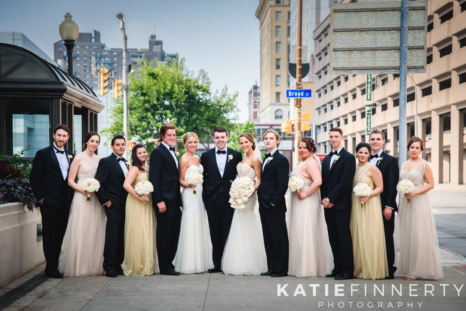 downtown rochester wedding party photography