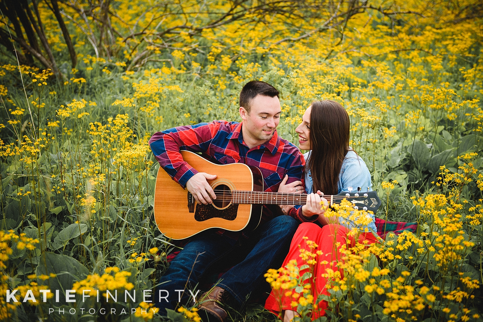Field of Yellow Wildflowers Rochester Park Engagement Session
